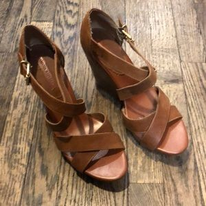 Banana Republic brown leather wedges size 10